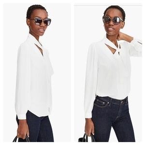 New J Crew Drapey neck tie top blouse White 6